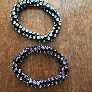 Loft- 2 Stretch Bracelets-Pink & White